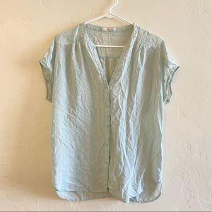 Hinge Blue & White Striped Button Down Blouse 1X